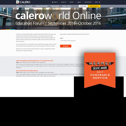 Calero World Digital Marketing Award