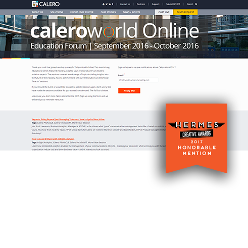 Calero World Digital Marketing Award