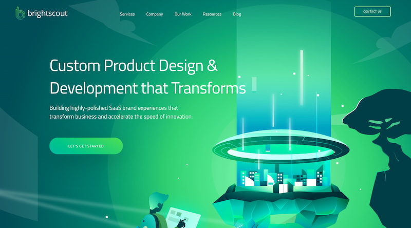 Brightscout's green B2B websites design color pallet draws the eye in