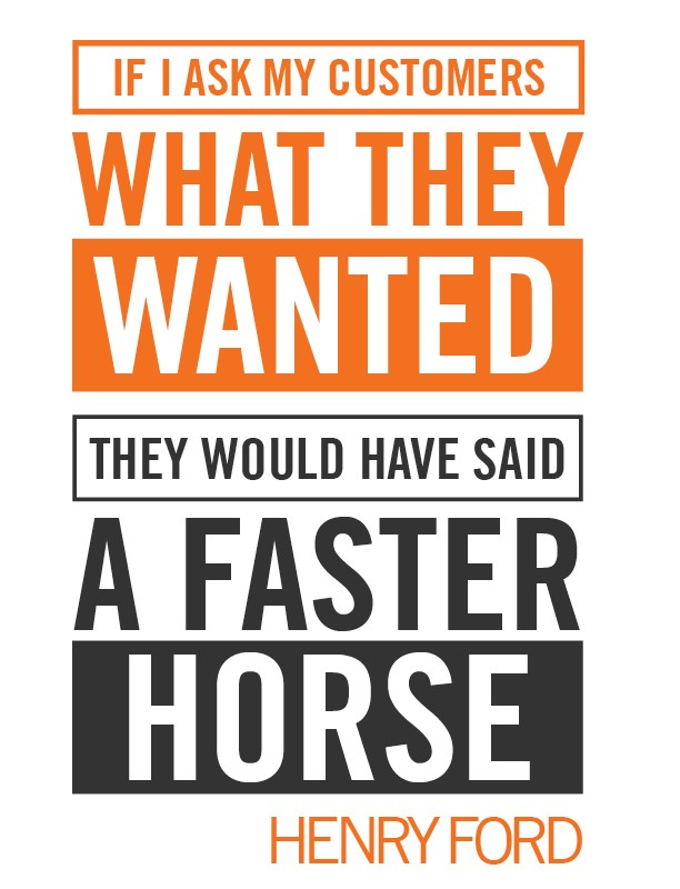 Poster likening B2B branding to a quote of Henry Ford, 'If I ask my customers what they wanted they would have said a faster horse.'