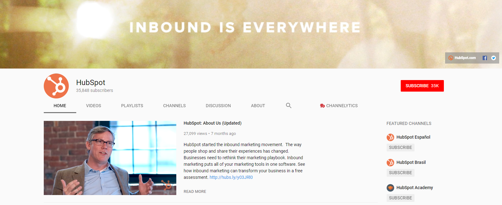 Optimized YouTube Channel Page
