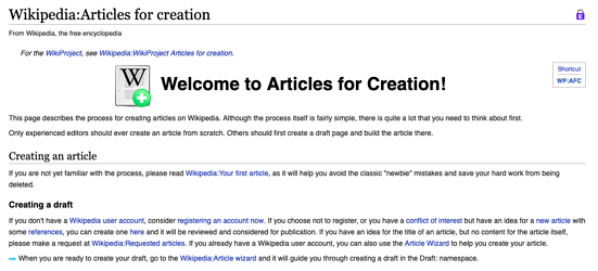 B2B Wikipedia page creation