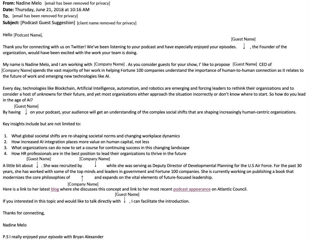 Example of email pitch to podcast host