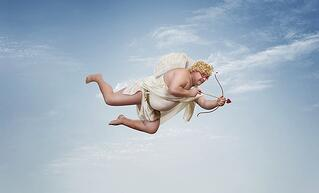 A painting of cupid flying about to strike a B2B company and marketing agency with love arrows